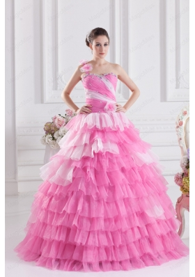 Rose Pink One Shoulder Beading Quinceanera Dress with Ruffled Layers