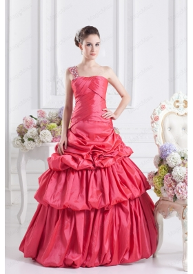 Cheap Coral Red One Shoulder Ball Gown Quinceanera Dress with Pick Ups