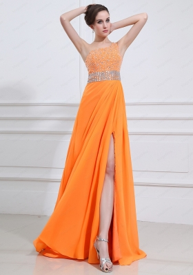 2015 Popular One Shoulder Orange Prom Dress with Beading