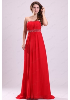 Sexy Sweetheart Empire Beading Chiffon Red 2015 Prom Dress with Backless