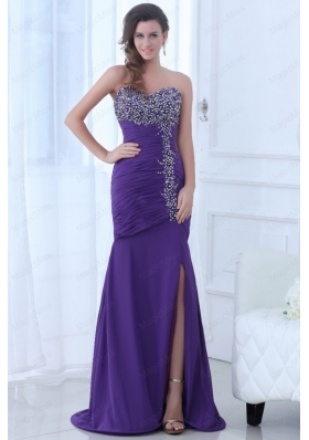 Mermaid Eggplant Purple Sweetheart High Slit Beading Chiffon Prom Dress