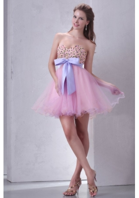 Beaded Decorate Brust Sweetheart Mini Length Baby Pink Prom Dress