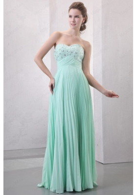 Sweetheart Beaded Decorate and Pleats Long Empire Chiffon Prom Dress