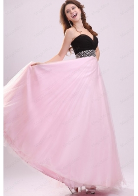 Empire Baby Pink Sweetheart Beading and Ruching Chiffon Prom Dress