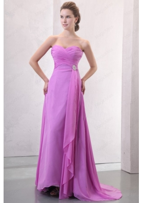 Lilac Empire Sweetheart Ruched Bridesmaid Dress with Brush Train