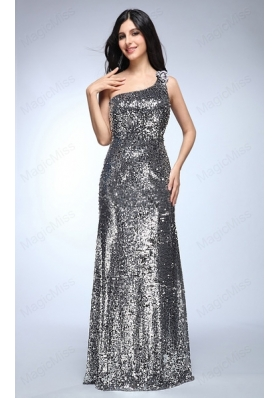 Sheath Silver One Shoulder Sequins Beading 2015 Mother of the Bride Dresses