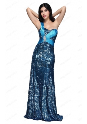 Column Blue One Shoulder Beading Ruching Sequins Mother of the Bride Dresses