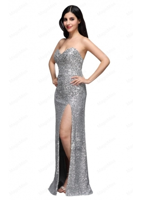 Column Sweetheart Silver Sequins High Slit Mother of the Bride Dresses