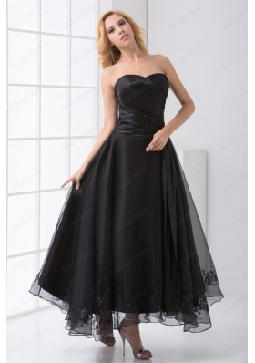 A Line Strapless Black Ankle Length Embroidery Mother of the Bride Dresses