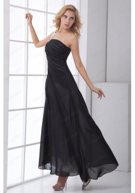 Column Black One Shoulder Chiffon Ruching Mother of the Bride Dresses
