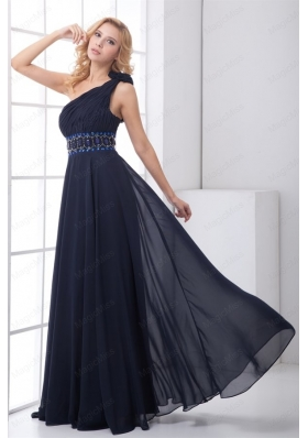 Discount One shoulder Navy Blue Mother of the Bride Dresses with Side Zipper