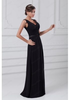Column V Neck Black Ruching Chiffon Zipper Up Mother of the Bride Dresses