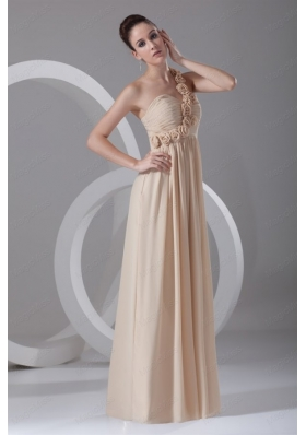 Champagne Empire One Shoulder Hand Made Flowers Mother of the Bride Dresses