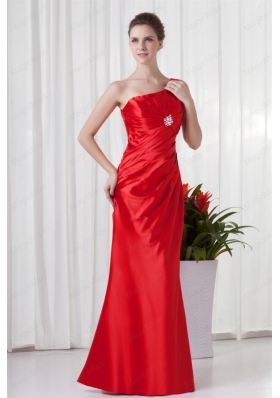 Column One Sholuder Red Taffeta Ruching Mother of the Bride Dresses