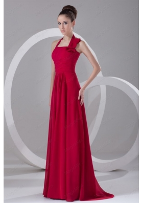 Simple Empire Halter Red  Mother of the Bride Dresses Ruching Chiffon Prom Dress