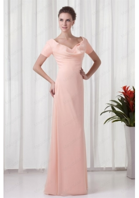 Watermelon Column V Neck Short Sleeves Ruching Mother of the Bride Dresses
