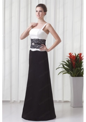 Column Straps Floor Length Lace Black and White Mother of the Bride Dresses