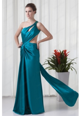Column One Shulder Teal Ruching Mother of the Bride Dresses with Criss Cross