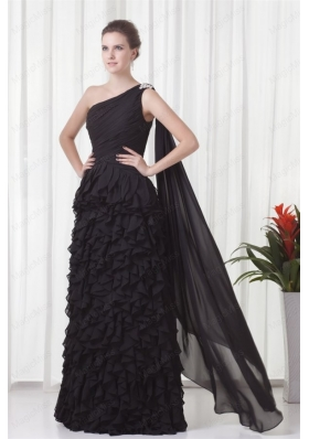 One Shoulder Black Watteau Train Chiffon Ruffles Mother of the Bride Dresses