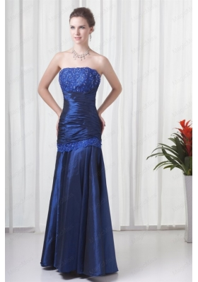 Column Strapless Navy Blue Ruching Mother of the Bride Dresses with Lace Up