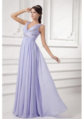 Elegant Empire Lavender V Neck Long Mother of the Bride Dresses with Beading