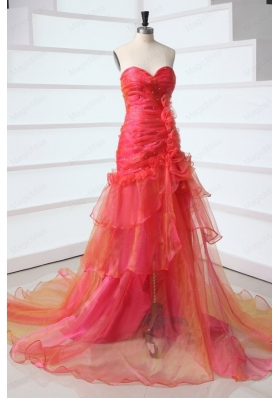 A Line Sweetheart Red Court Train Organza Beading Mother of the Bride Dresses
