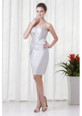 Silver Column Sweetheart Mother of the Bride Dresses with Beading and Ruching