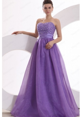 Princes Sweetheart Organza Purple Lace Up Prom Dress with Beading