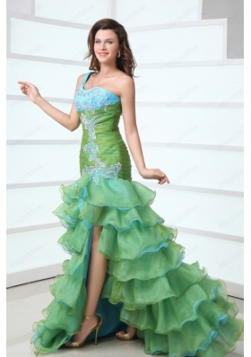 Cute One Shoulder Beading and Ruffled Layers Green Prom Dress with High Low