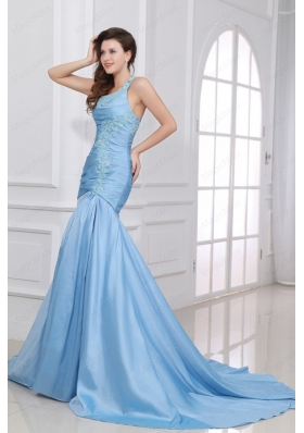 Blue A Line Sweetheart Taffeta Prom Dresses with Appliques Brush Train