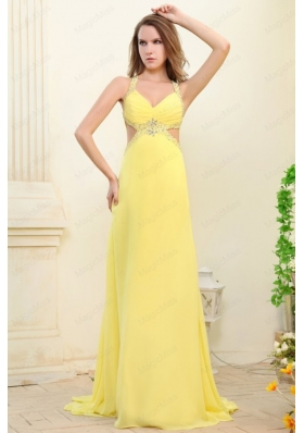 Column Straps Light Yellow Beading and Ruching  Prom Dress