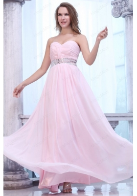 Empire Baby Pink Sweetheart Ruching Beading Chiffon Prom Dress
