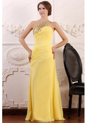 Beaded Decorate One Shoulder Yellow Chiffon Column Prom Dress