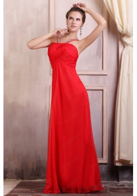 Beaded Decorate Straps Chiffon Long Red Prom Dress with Ruching