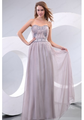 Empire Strapless Beading and Ruching Chiffon Floor Length Prom Dress