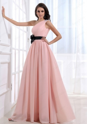 Empire One Shoulder Floor Length Pink Ruching Prom Dress with Side Zipper