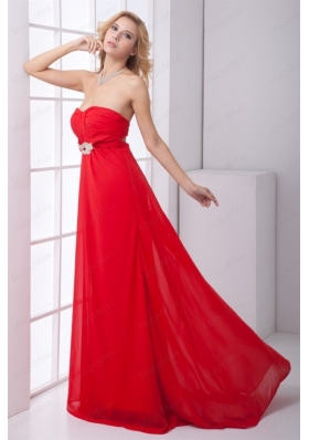 Empire Strapless Beading Backles Red Chiffon Prom Dress