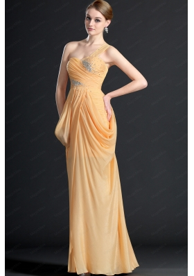 Elegant One Shoulder Floor Length Beading Prom Dresses for 2014