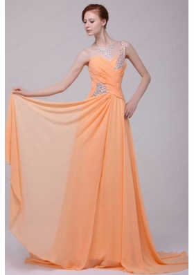 One Shoulder Chiffon Empire Rhinestone Decorate Prom Dress in Orange