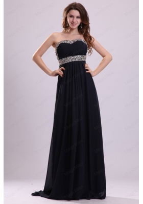 Sweetheart Beaded Navy Blue Prom Dress with Backless Brush Train