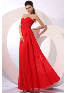Red Empire Sweetheart Floor-length Beading Chiffon Prom Dress