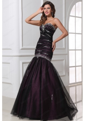 Mermaid Sweetheart Purple Tulle 2015 Perfec Prom Dress with Beading