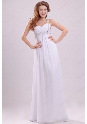 Straps Empire Chiffon Beaded Decorate Floor Length Wedding Dress