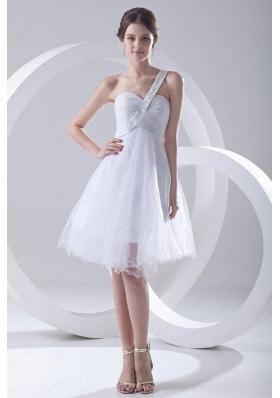 2014 Spring A Line One Shoulder Beading and Ruching Organza Wedding Dress