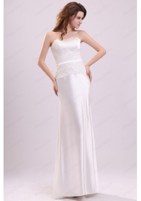 Strapless Column Appliques Decorate Bodice Floor Length Wedding Dress