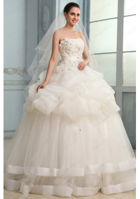 Strapless Ball Gown Appliques and Pick Ups Long Wedding Dress