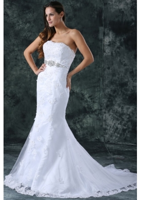 Mermaid Strapless Beading and Lace Wedding Dress with Court Train