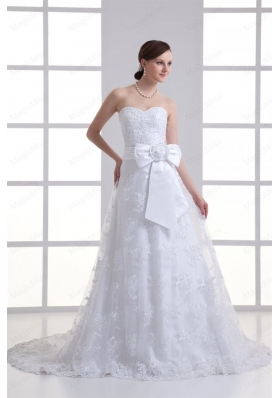 A Line Sweetheart Sash Lace Court Train Wedding Dress
