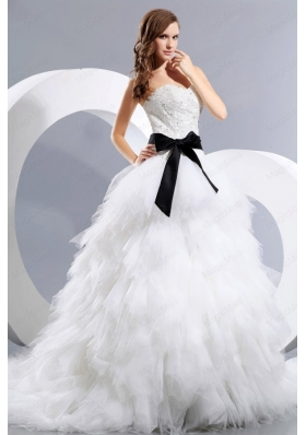 Luxurious A-Line Sweetheart Beading Court Train Tulle Wedding Dress