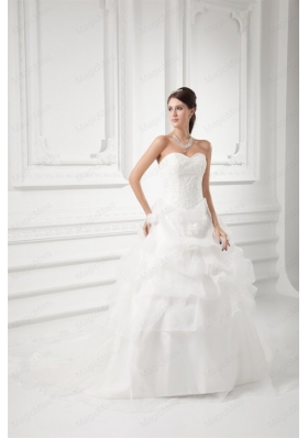 Romantic Sweetheart Ball Gown Wedding Dress with Embroidery and Pick-ups